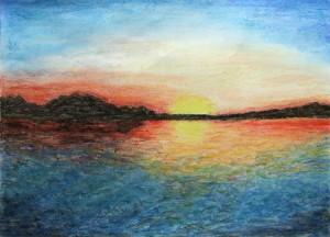 024-pastela_papier-zachod_slonca_nad_woda-35x50cm