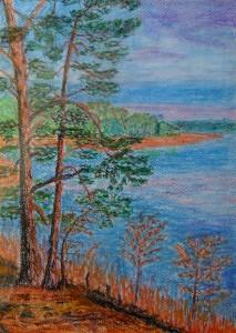 029-pastel_papier-kaszubskie_jezioro-35x25cm