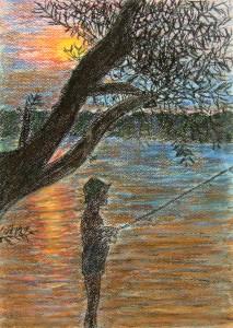 034-pastel_papier-maly_wedkarz-35x25cm