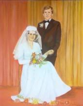 Obraz olejny płótno portret ślubny 40x30cm