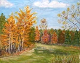 Obraz olejny, płótno, pejzaż jesienny 40x50 cm