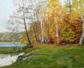 Obraz olejny płótno, jezioro Grabino 40 x 50 cm