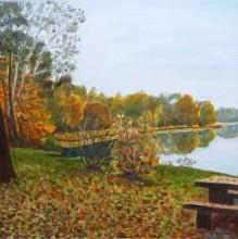 Obraz olejny, płótno, jezioro Grabino 40x40cm