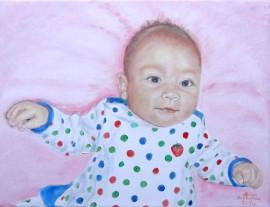 Obraz olejny, portret dziecka malowany ze zdjęcia 25x30cm