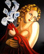 Kobieta w czerwieni z kwiatami